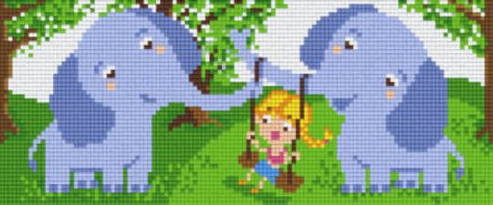Swinging Elephant Girl Three [3] Baseplate PixelHobby Mini-mosaic Art Kits