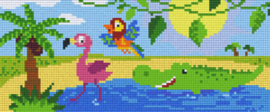 Aquatic Animals Three [3] Baseplate PixelHobby Mini-mosaic Art Kits