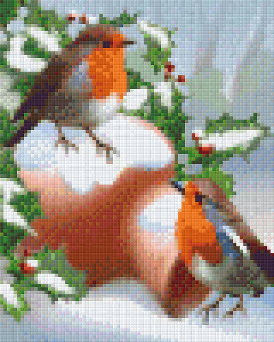 Christmas Robins Four [4] Baseplate PixelHobby Mini-mosaic Art Kits