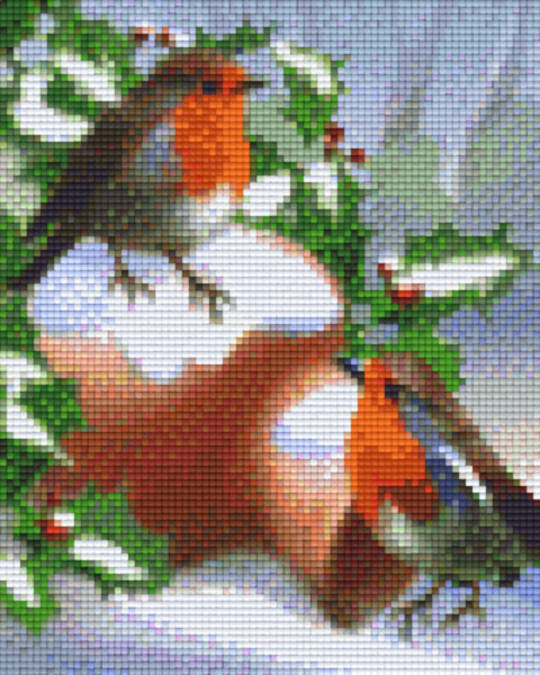 Robin In The Snow Four [4] Baseplatge PixelHobby Mini-mosaic Art Kits