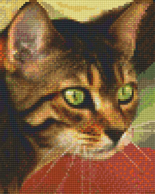 Green Eyed Cat Four [4] Baseplate PixelHobby Mini-mosaic Art Kits