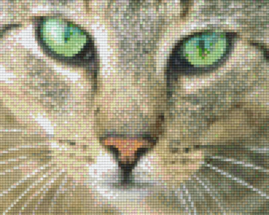 Green Eyed Kitten Head Four [4] Baseplate PixelHobby Mini-mosaic Art Kits