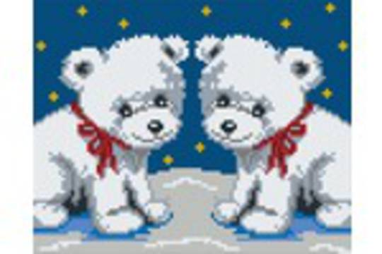 Polar Bear Twins Four [4] Baseplate PixelHobby Mini-mosaic Art Kits