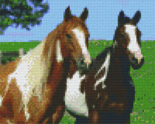Two Horses Four [4] Baseplate PixelHobby Mini-mosaic Art Kits