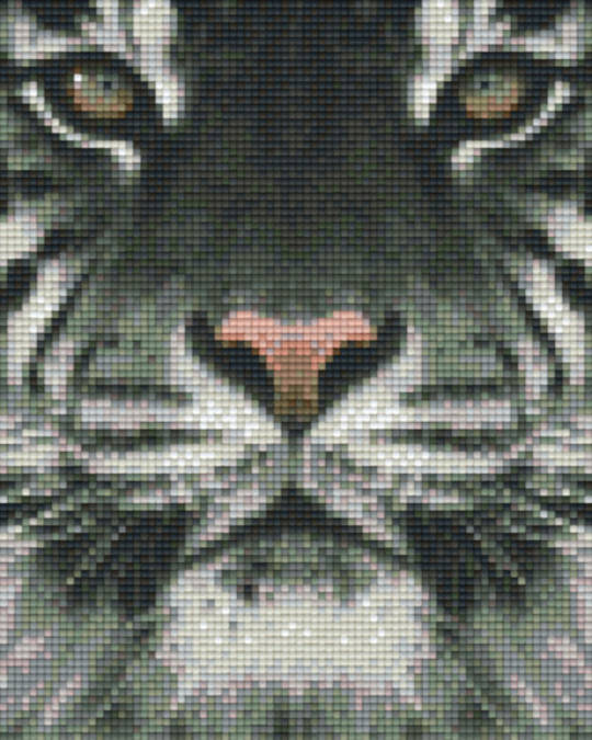 White Tiger Head Four [4] Baseplate PixelHobby Mini-mosaic Art Kits