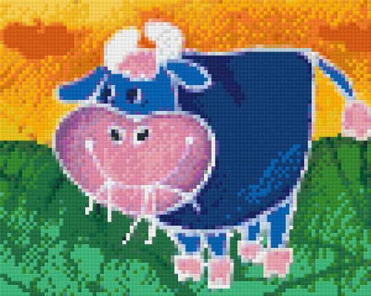 Blue Cow Four [4] Baseplate PixelHobby Mini-mosaic Art Kits