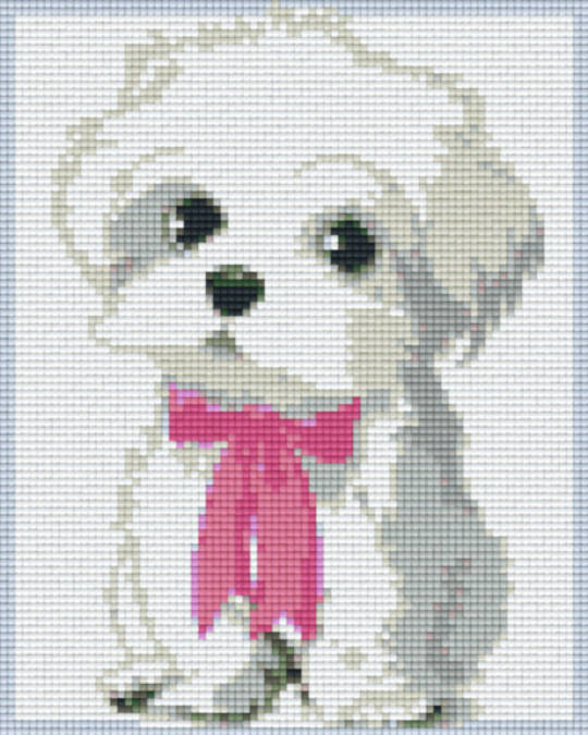 Puppy With Pink Ribbon Four [4] Baseplate PixelHobby Mini-mosaic Art Kits