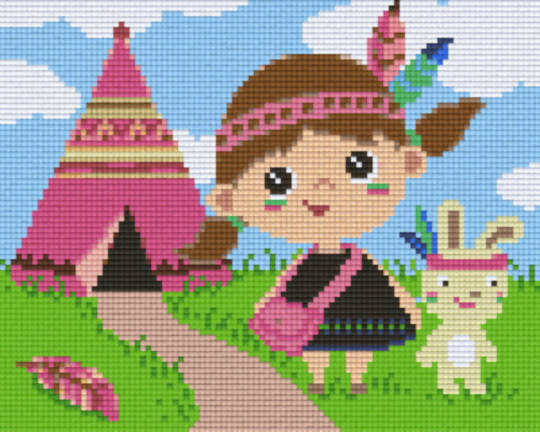 Indian Girl In Tent Four [4] Baseplatge PixelHobby Mini-mosaic Art Kits