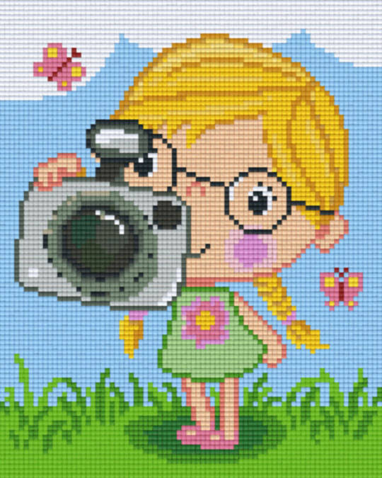 Girl Holding Camera Four [4] Baseplatge PixelHobby Mini-mosaic Art Kits