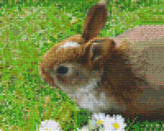 Rabbit In Grass Four [4] Baseplate PixelHobby Mini-mosaic Art Kits