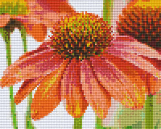 Orange Flower Four [4] Baseplate PixelHobby Mini-mosaic Art Kits