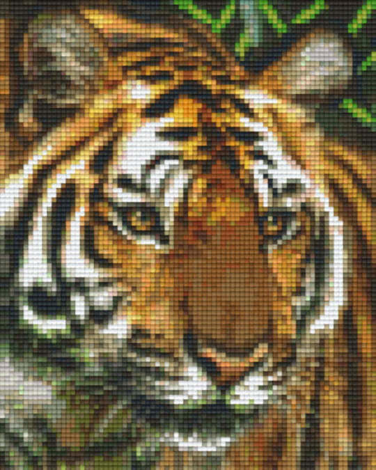 Big Tiger Head Portrait Four [4] Baseplate PixelHobby Mini-mosaic Art Kits