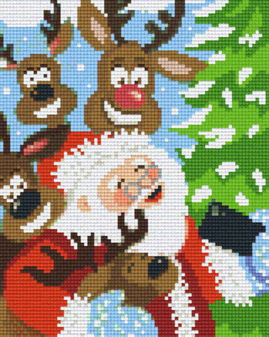 Santa And Raindeer Laughing Four [4] Baseplatge PixelHobby Mini-mosaic Art Kits