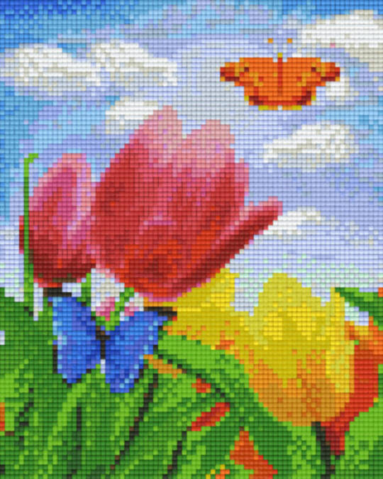 Tulips Butterflies Four [4] Baseplate PixelHobby Mini-mosaic Art Kits