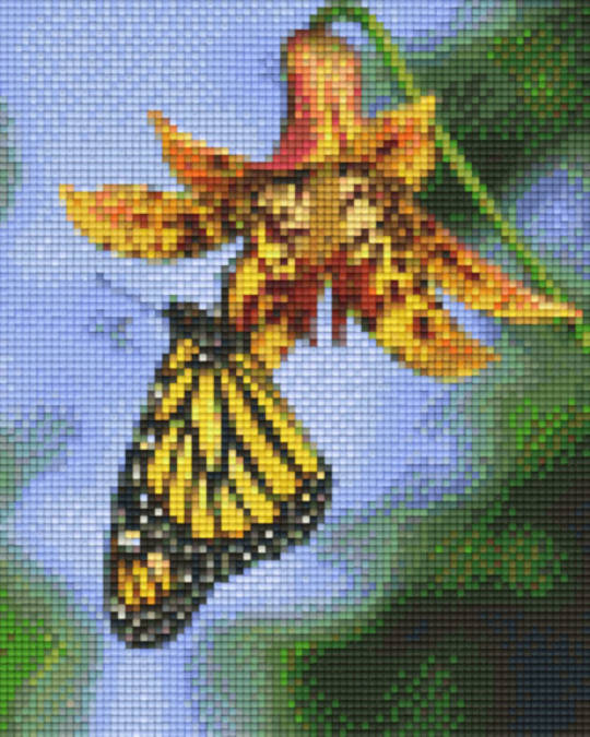 Yellow Butterfly On Flower Four [4] Baseplate PixelHobby Mini-mosaic Art Kits