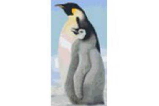 Emperor Penguin With Chick Six [6] Baseplate PixelHobby Mini-mosaic Art Kits