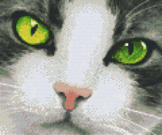Green Eyed Cat Six [6] Baseplate PixleHobby Mini-mosaic Art Kits
