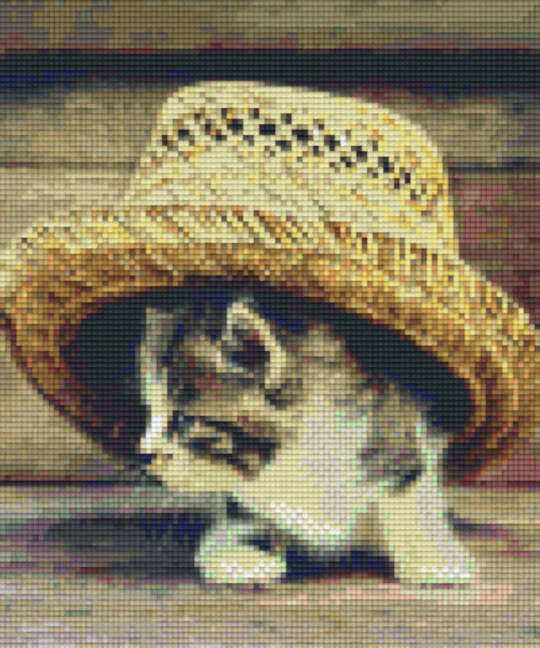Cat Under Hat Six [6] Baseplate PixleHobby Mini-mosaic Art Kits