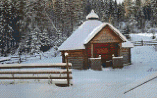 Cabin In Snow Eight [8] Baseplate PixelHobby Mini-mosaic Art Kits