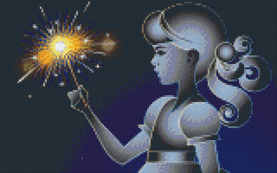 Girl With Sparkler Eight [8] Baseplate PixelHobby Mini-mosaic Art Kits