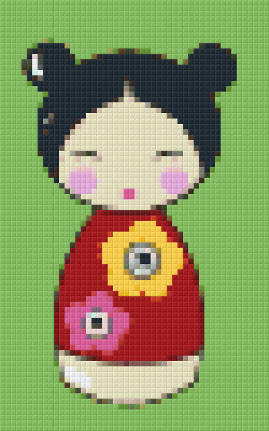 Red Japanese Doll Two [2] Baseplate PixelHobby Mini-mosaic Art Kit