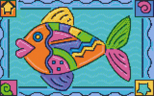 Fish Eight [8] Baseplate PixelHobby Mini-mosaic Art Kits