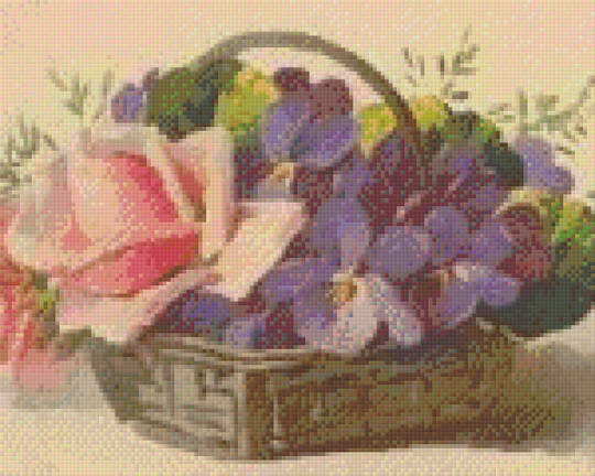 Basket With Rose And Pansies Nine [9] Baseplate PixelHobby Mini-mosaic Art Kits