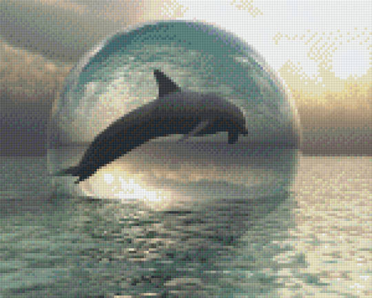 Dolphins In Bubbles Nine [9] Baseplate PixelHobby Mini-mosaic Art Kits