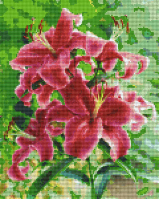 Red Lillies Nine [9] Baseplates PixelHobby Mini- mosaic Art Kits