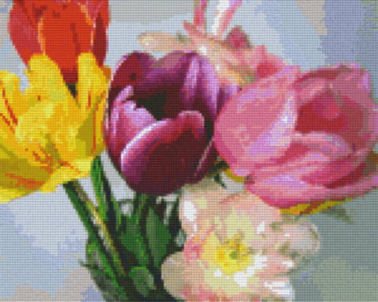 Tulips Nine [9] Baseplates PixelHobby Mini- mosaic Art Kits