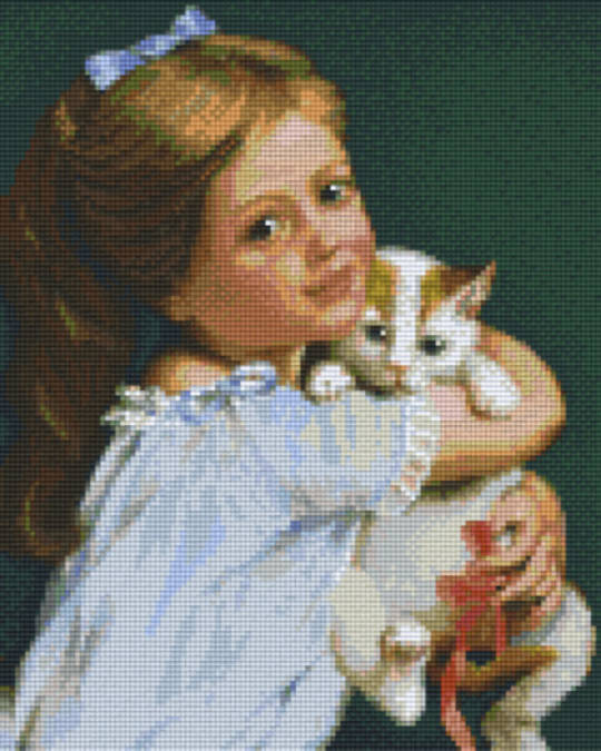 Girl With Cat  Nine [9] Baseplates PixelHobby Mini- mosaic Art Kits`