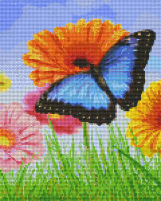 Butterfly On Flowers Nine [9] Baseplates PixelHobby Mini- mosaic Art Kits