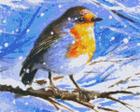 Robin In The Snow Nine [9] Baseplate PixelHobby Mini-mosaic Art Kits