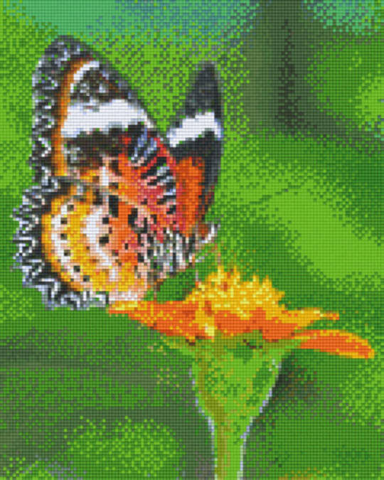Orange Butterfly On Flower Nine [9] Baseplates PixelHobby Mini- mosaic Art Kits