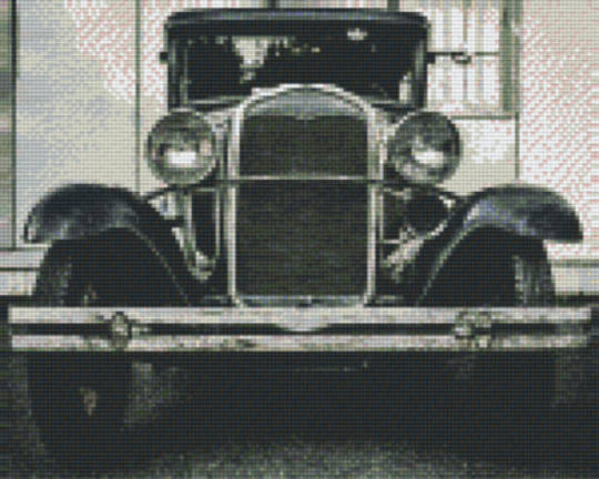 Vintage Car In Black & White Nine [9] Baseplates PixelHobby Mini- mosaic Art Kits