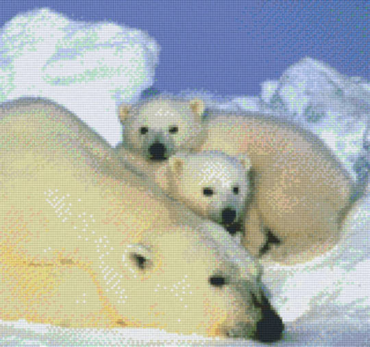 Polar Bear Twelve [12] Baseplate PixelHobby Mini-mosaic Art Kits