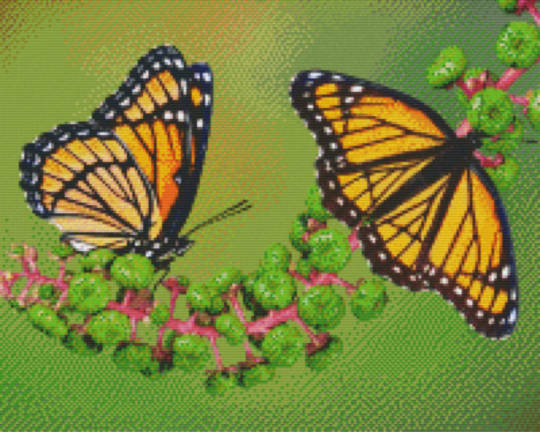 Butterflies On Branch Sixteen [16] Baseplate PixelHobby Mini-mosaic Art Kits