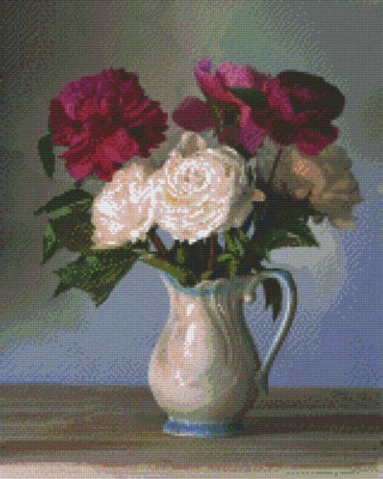 Roses In Vase Sixteen [16] Baseplate PixelHobby Mini- mosaic Art Kit