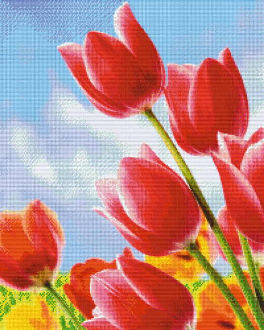Red Tulips Twenty- Five [25] Baseplate PixelHobby Mini-mosaic Art Kits