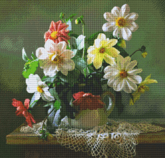 Flower Vase Thirty [30] Baseplate PixelHobby Mini-mosaic Art Kits