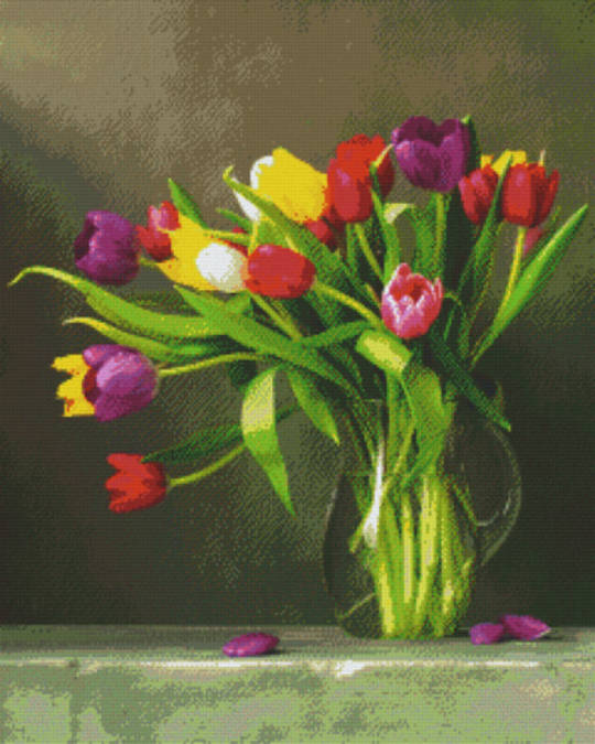 Tulips In Vase Thirty Six [36] Baseplate PixelHobby Mini-mosaic Art Kits