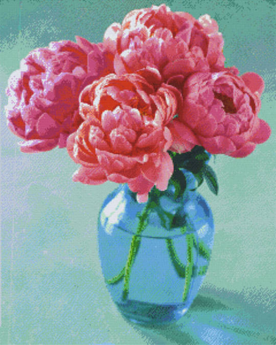 Roses In Vase Thirty- Six [36] Baseplate PixelHobby Mini-mosaic Art Kits