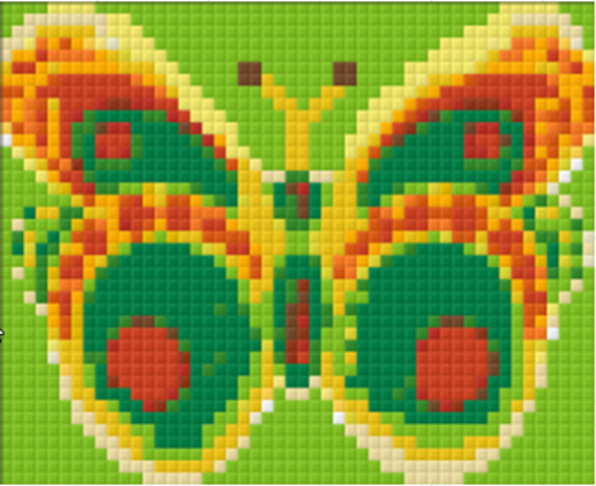 Butterfly Green-Yellow - 1 Baseplate PixelHobby Mini-mosaic Kit