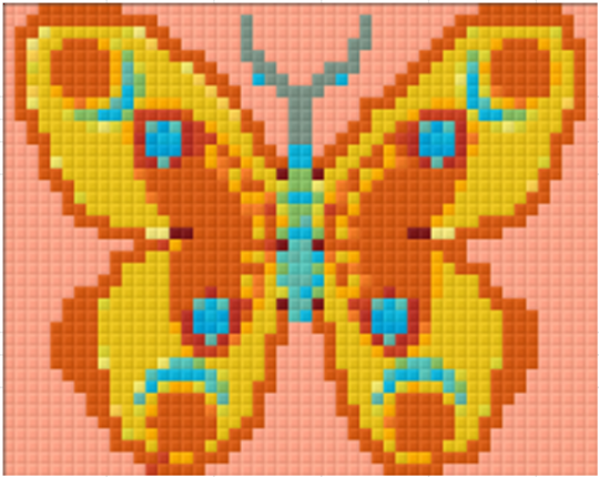 Butterfly Yellow-Orange - 1 Baseplate PixelHobby Mini-mosaic Kit
