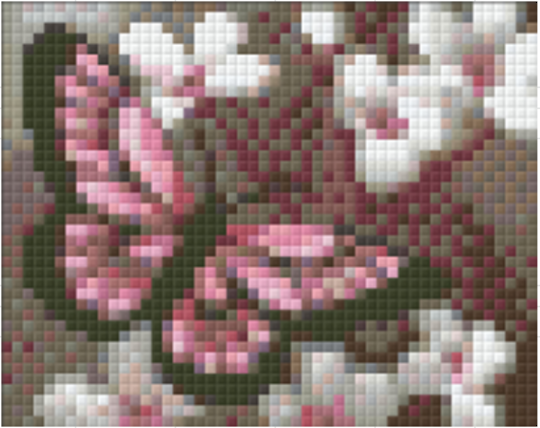 Pink & Black Butterfly & Flowers - 1 Baseplate PixelHobby Mini-mosaic Kit