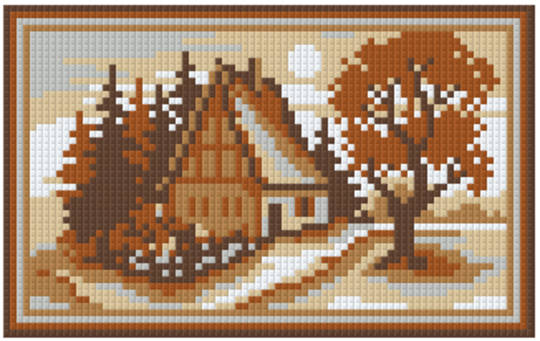 Soft Brown House Two [2] Baseplate PixelHobby Mini-mosaic Art Kit