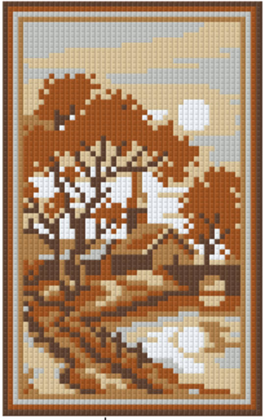 Soft Brown Village Two [2] Baseplate PixelHobby Mini-mosaic Art Kit