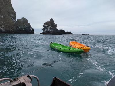 Kayaks towed