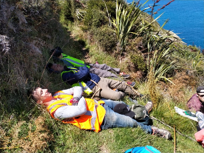 Lunch break while surveying penguins