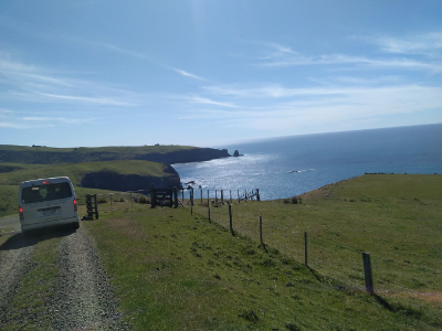 Driving down to Stony bay to survey penguins